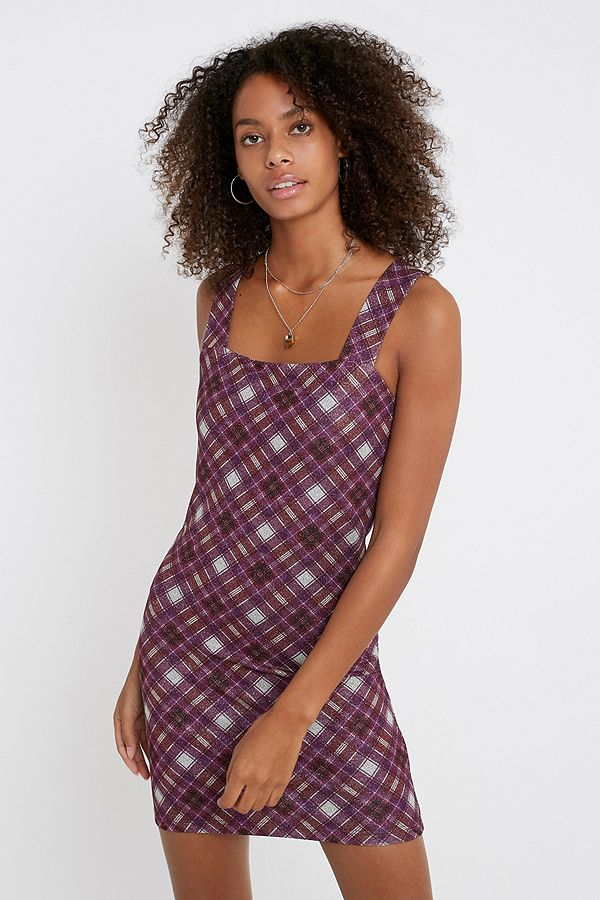 Urban Renewal Inspired By Liv Pink Checked Glitter Dress by Urban Renewal