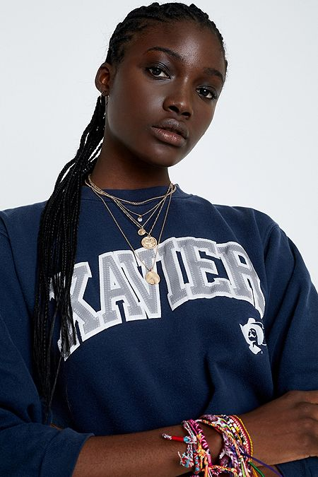 Urban Renewal Remade Navy Print Cropped Sleeves Sweatshirt 3e7d7d295