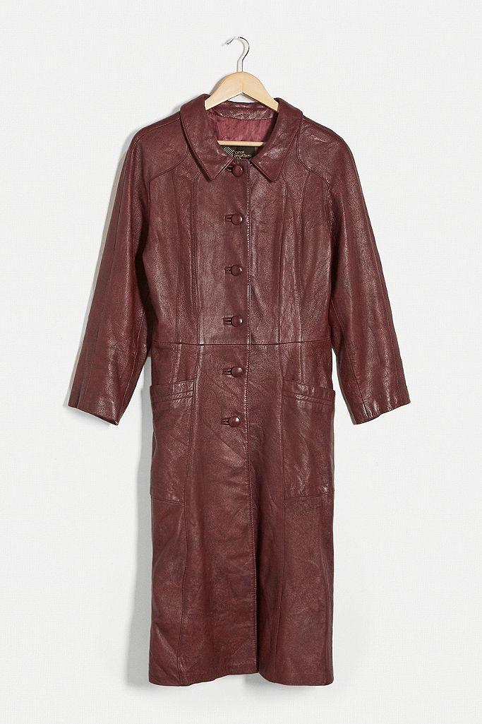Urban Renewal Vintage Brown Leather Trench Coat