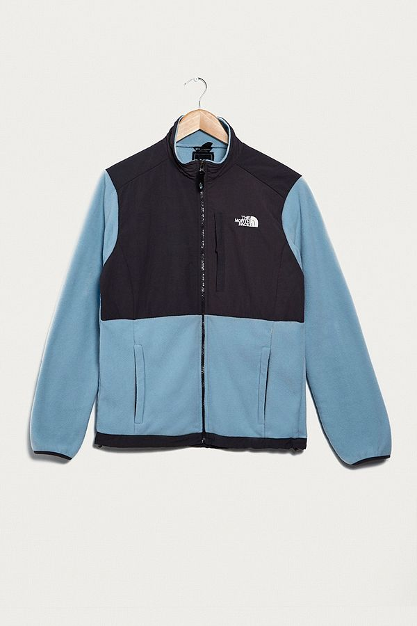 930145384 Urban Renewal Vintage One-of-a-Kind North Face Light Blue and Black  Zip-Through Fleece Jacket