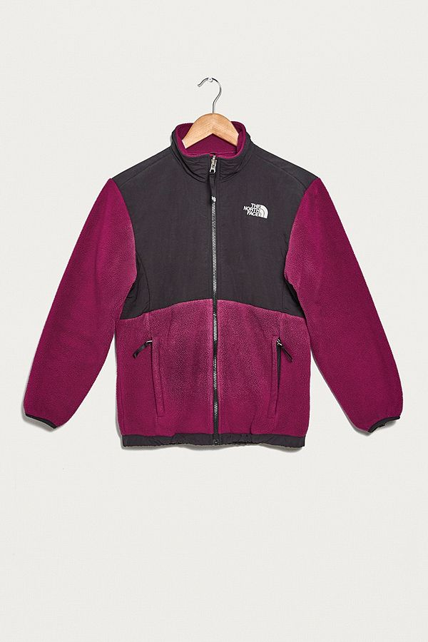b04e4f7a5 Urban Renewal Vintage One-of-a-Kind North Face Purple and Black Zip-Through  Fleece Jacket