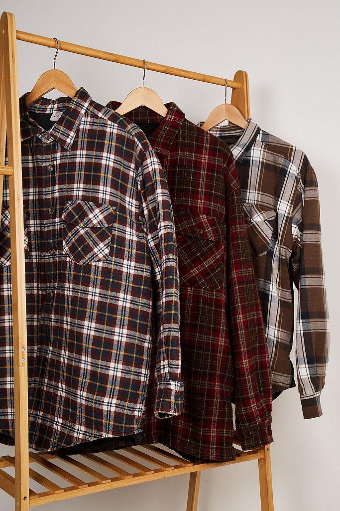 Urban Renewal Vintage Brown Padded Flannel Shacket
