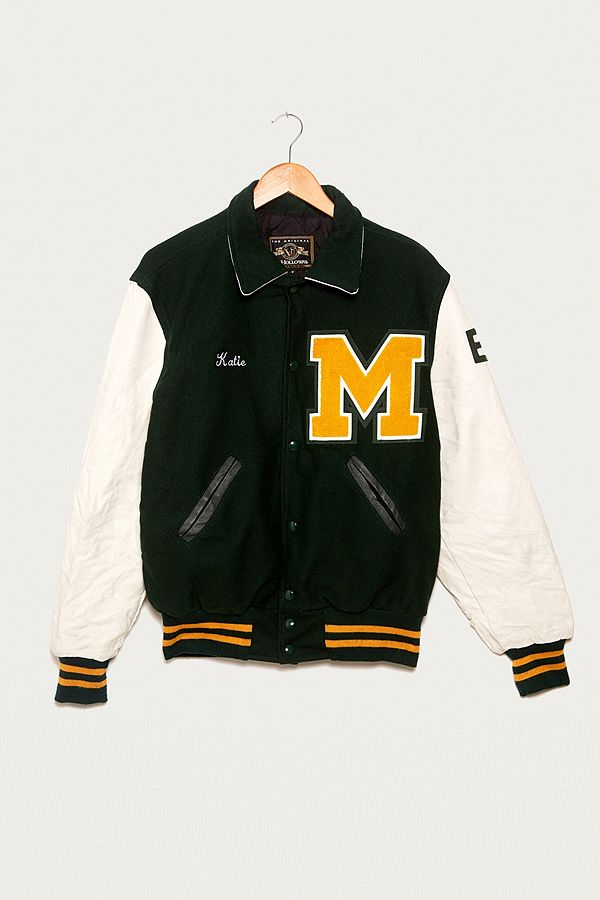 Urban Renewal Vintage One-of-a-Kind Black Varsity Jacket