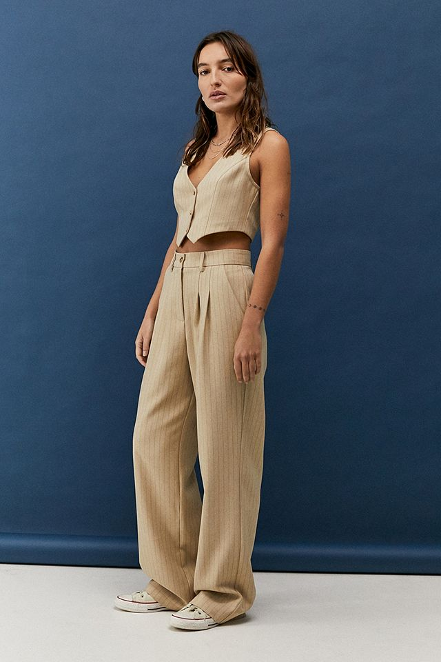 Urban Outfitters Archive Sand Pinstripe Puddle Trousers