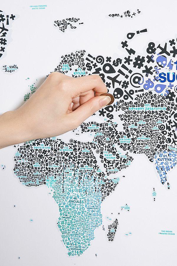 "Luckies of London – Weltkarte ""Scratch Map Of The F*#?ing World"" zum  Freirubbeln"