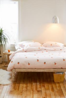 Pretty Peach Duvet Cover Set With Reusable Fabric Bag Urban Outfitters Uk