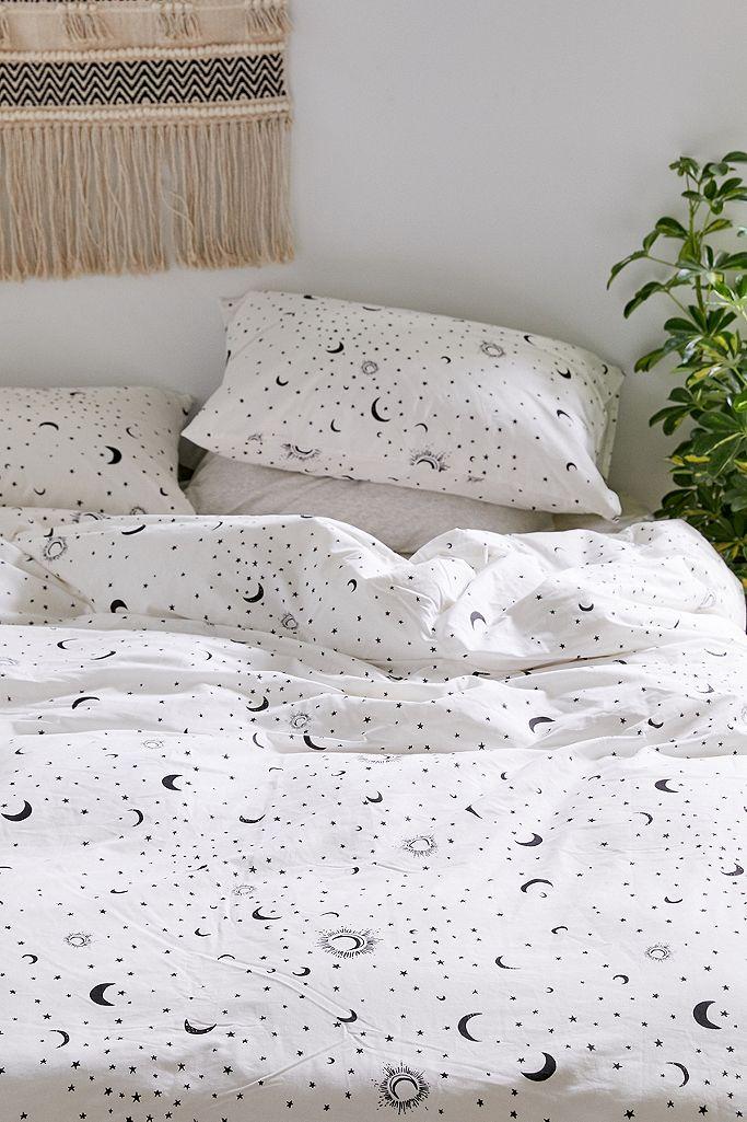 Black and White Moon Duvet Cover Set in
