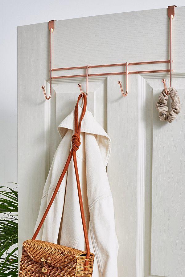 Copper 4 Hook Over The Door Rack