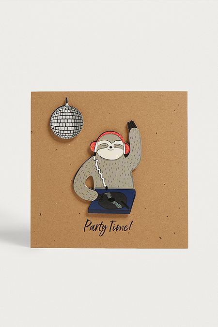 Sloth Party Time Card
