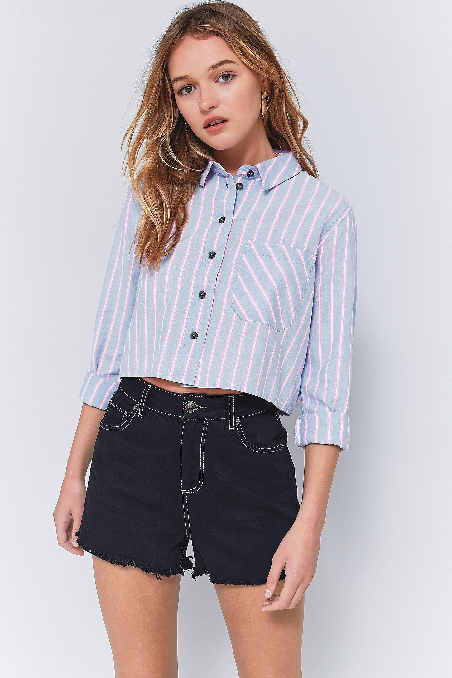 6404fe16 Urban Outfitters Striped Cropped Button-Down Shirt | Urban Outfitters UK