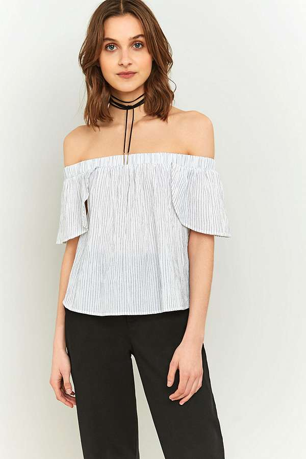 b7320653c9f Urban Outfitters Striped Bardot Off-The-Shoulder Top | Urban ...