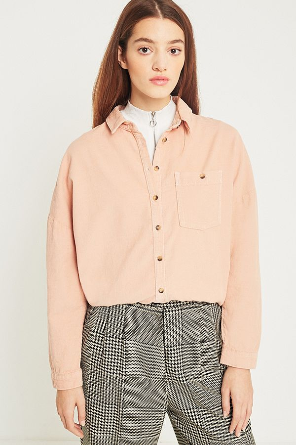 59b90d0c BDG Corduroy Dolman Sleeve Pink Button-Down Shirt | Urban Outfitters UK