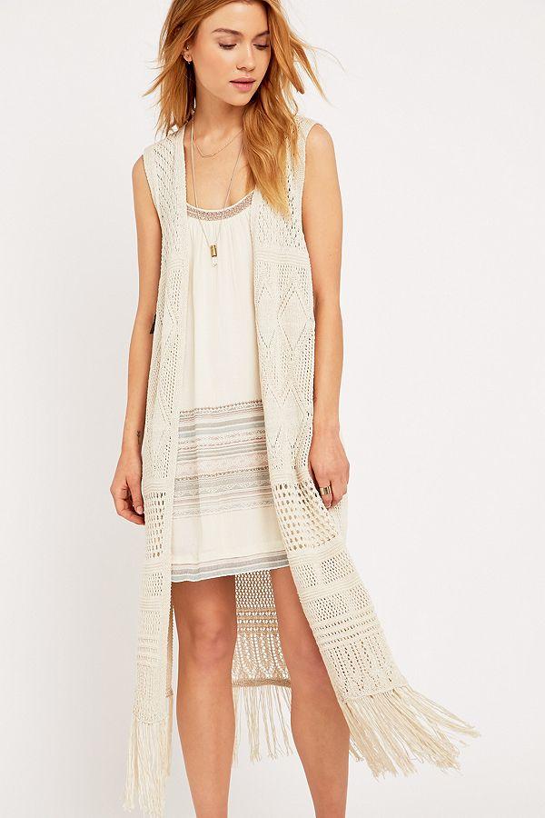 Pins Needles Sleeveless Ivory Crochet Cardigan Urban Outfitters Uk