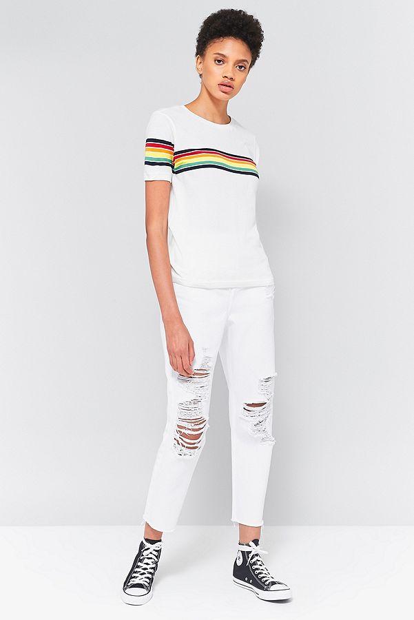 3e96fb880b BDG Rainbow Striped T-Shirt | Urban Outfitters UK