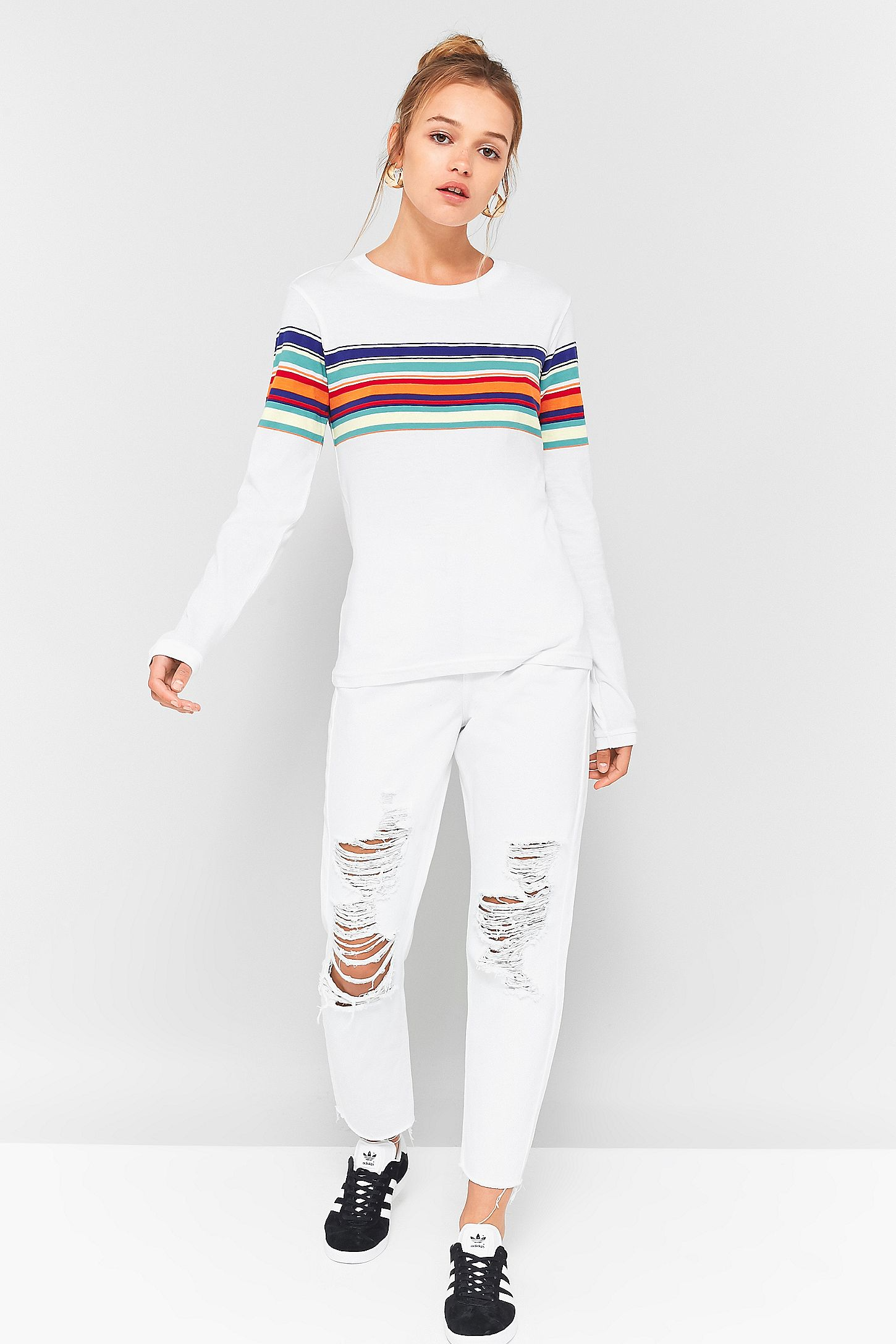 5e4be9168efd87 BDG Orange Rainbow Striped Long Sleeve T-Shirt. Click on image to zoom.  Hover to zoom. Double Tap to Zoom