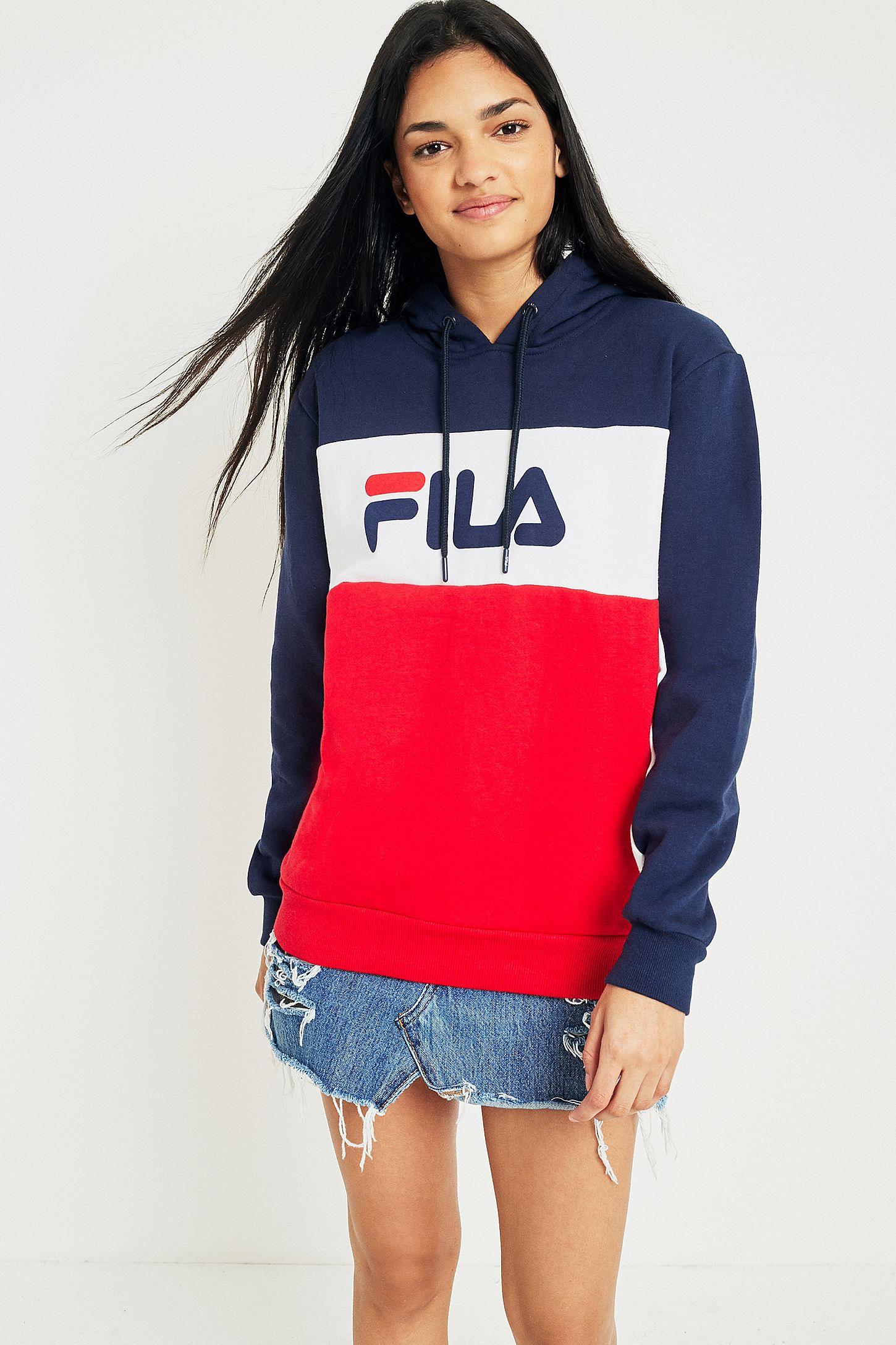 eb4e40ab014 FILA Cara Colour-Block Logo Hoodie | Urban Outfitters UK