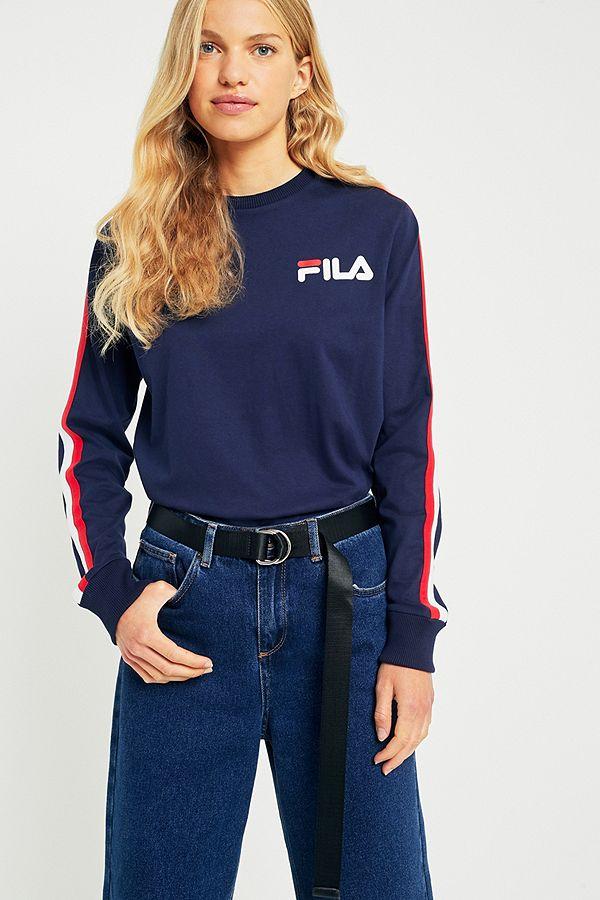 f73f0247e23d FILA Alina Navy Striped Long Sleeve T-Shirt | Urban Outfitters UK