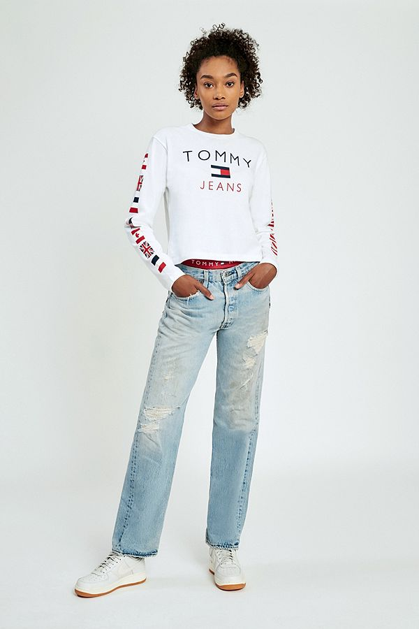 6086ecf21e Tommy Jeans  90s Flag White Cropped Long Sleeve T-Shirt