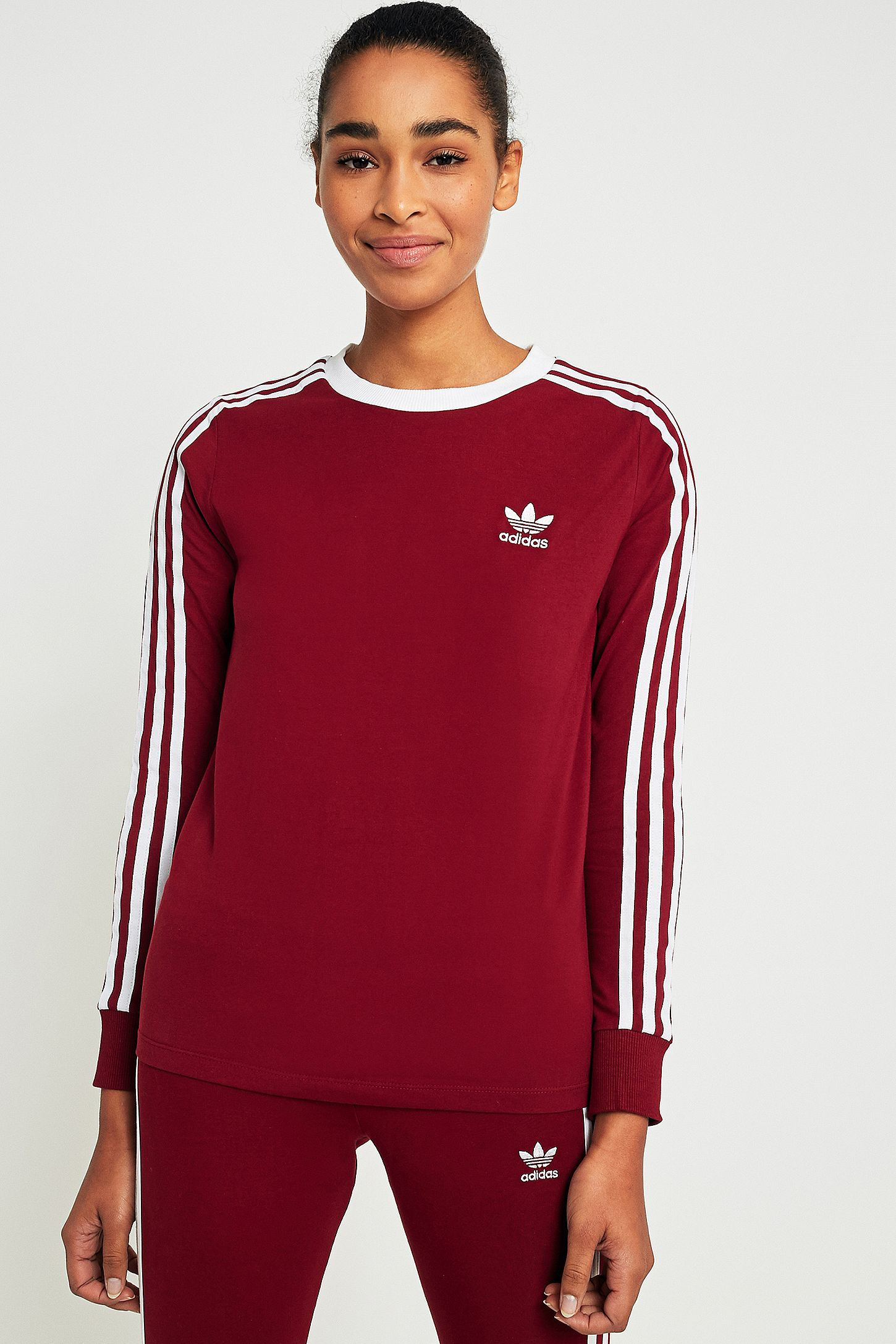 ca5481cce860bb adidas Originals 3-Stripes Long Sleeve Maroon T-shirt