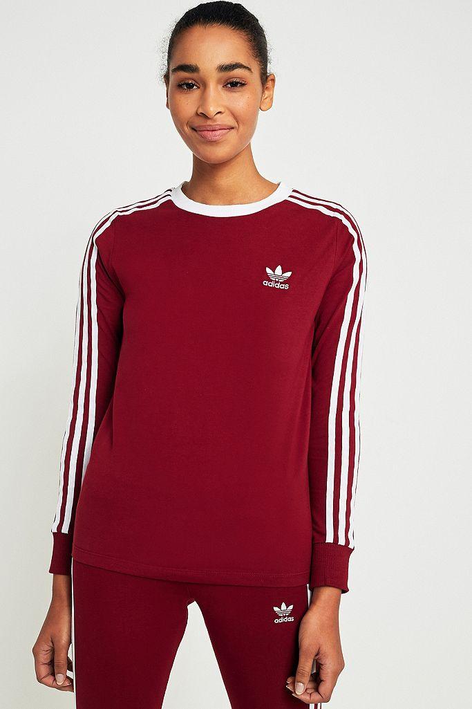 adidas Originals 3-Stripes Long Sleeve Maroon T-shirt