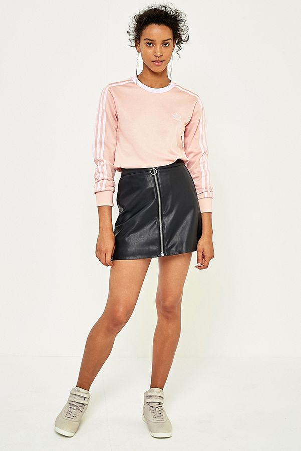 0dab540ea74 adidas Originals 3-Stripe Pink Long Sleeve T-Shirt | Urban Outfitters UK