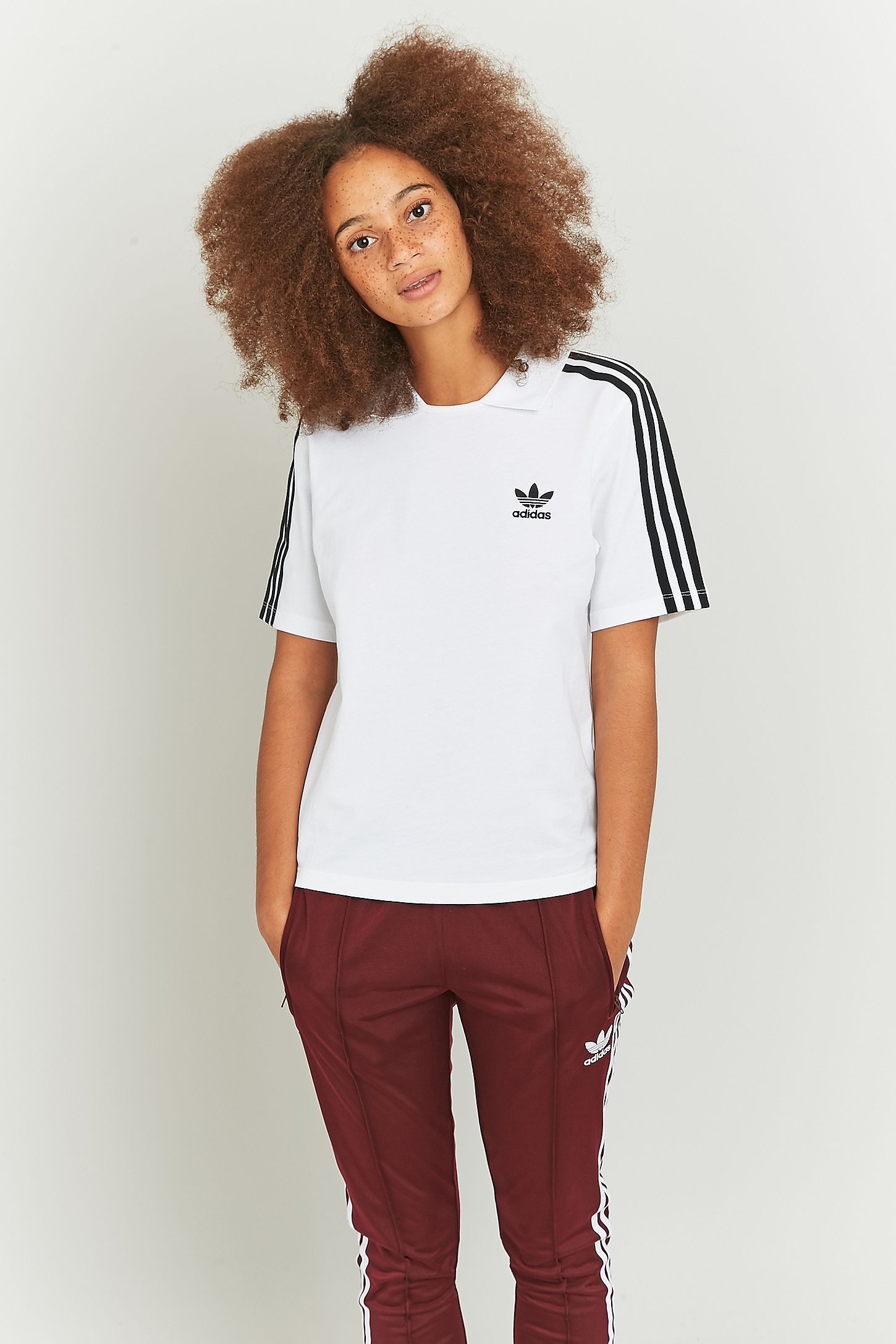 41b175065 adidas Originals 3 Stripe White Polo T-shirt. Click on image to zoom. Hover  to zoom. Double Tap to Zoom