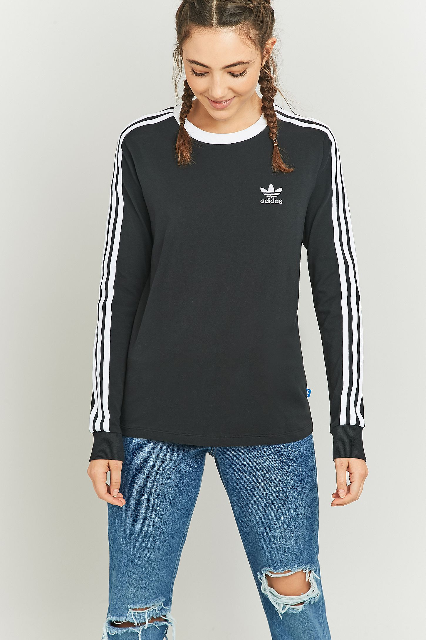 0c81f743cfd10 adidas Originals 3-Stripes Long Sleeve Black T-shirt. Click on image to  zoom. Hover to zoom. Double Tap to Zoom
