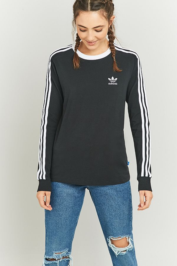 adidas Originals 3 Stripes Long Sleeve Black T shirt