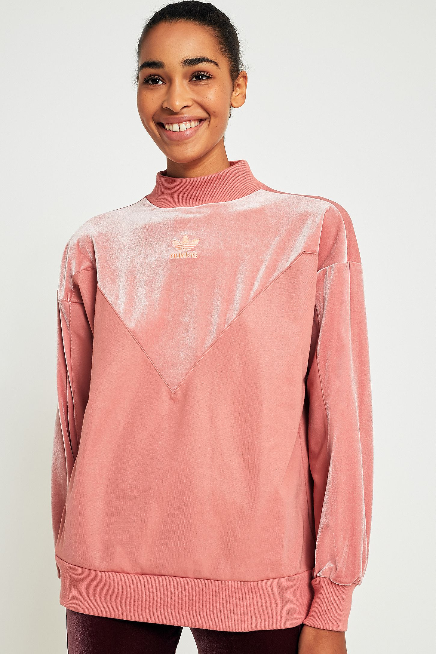 9ae79b22ffa5 adidas Originals Pink Velvet Boyfriend Sweatshirt. Click on image to zoom.  Hover to zoom. Double Tap to Zoom