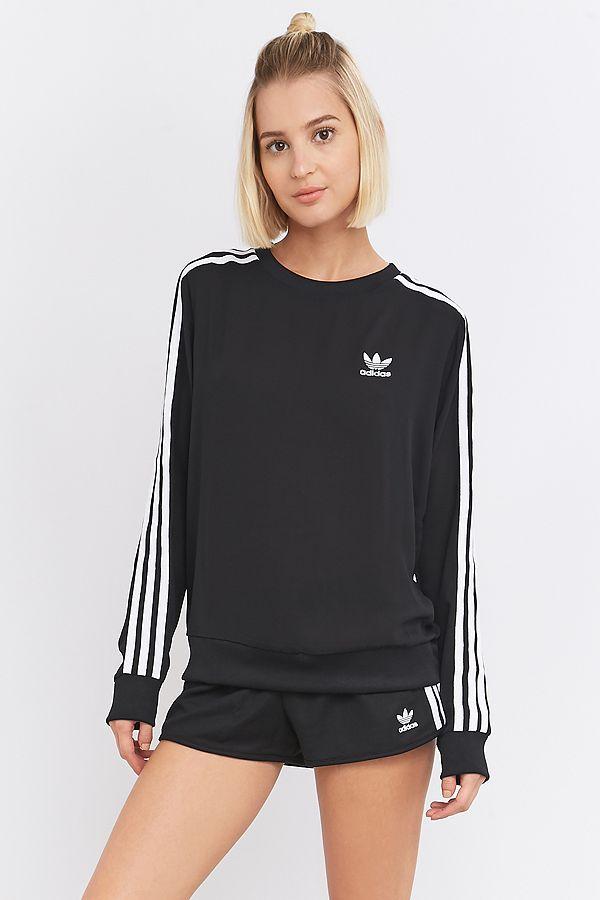63ea89f4a0de adidas Originals 3-Stripe Long Sleeve Black Jumper