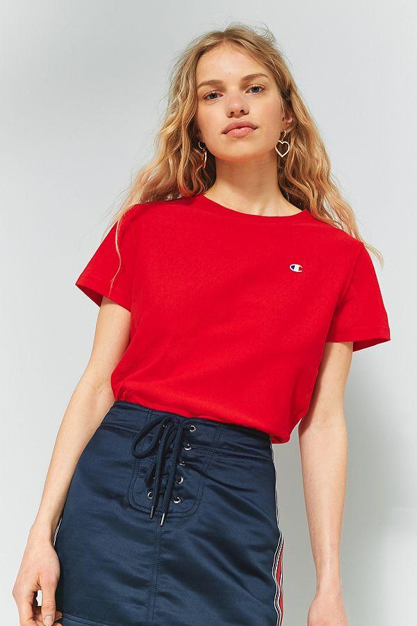 Champion Red Small Logo T Shirt
