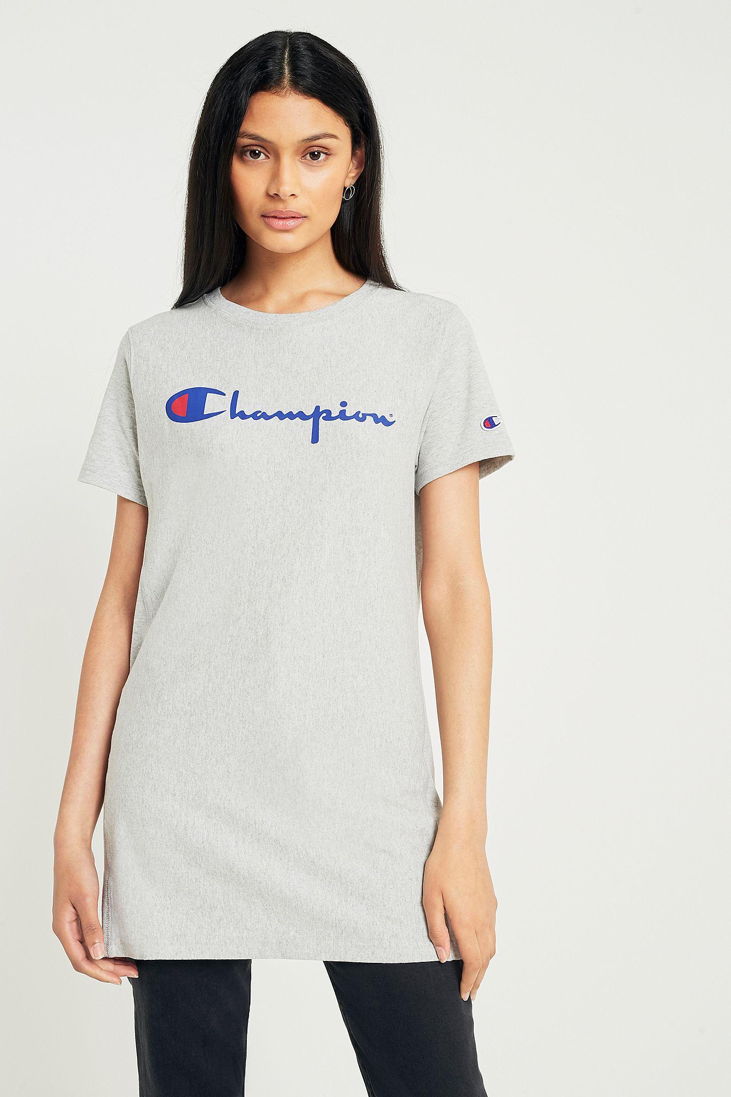 ddff678b Champion Grey Script Logo T-Shirt | Urban Outfitters UK