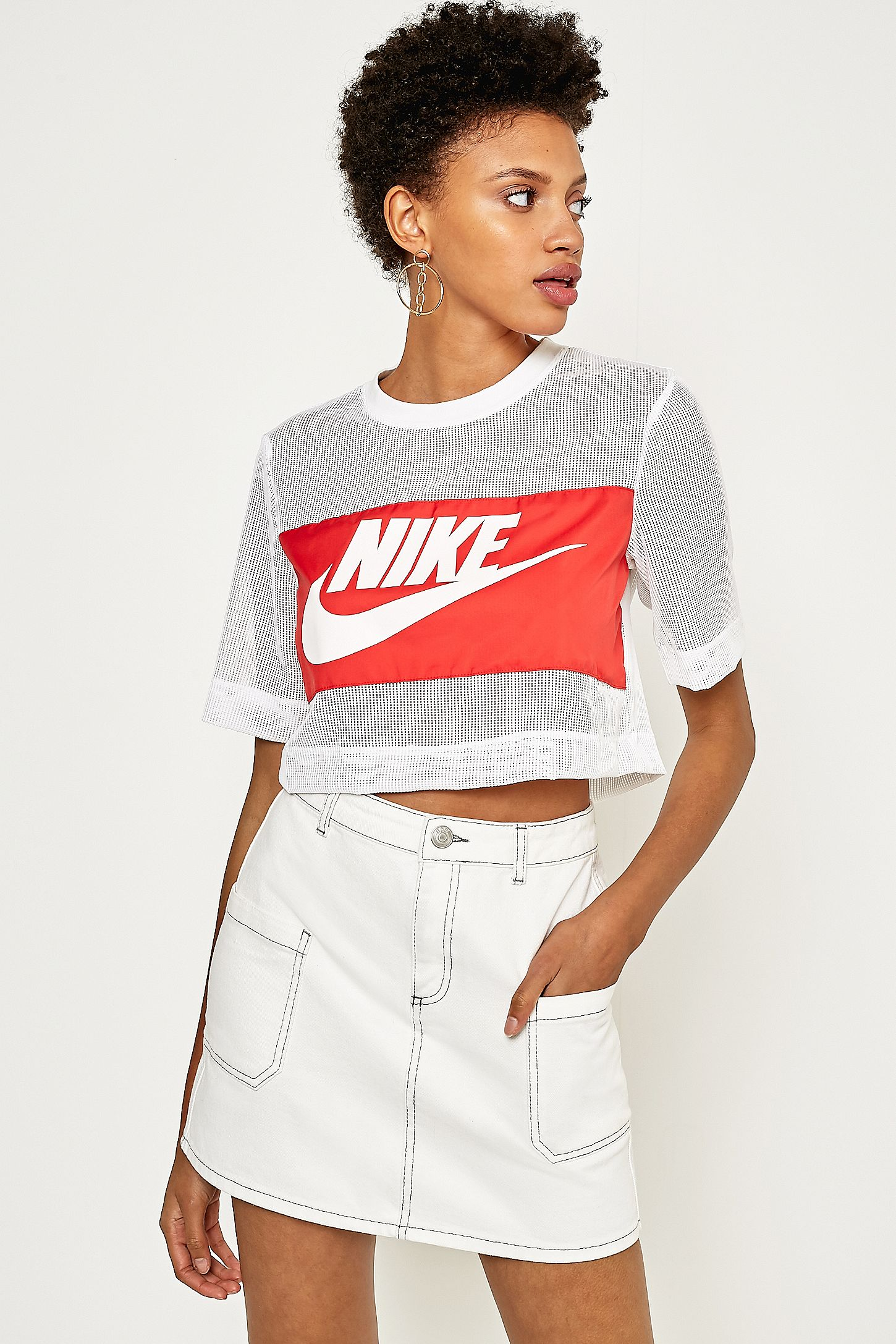 b09844093fa Nike White Mesh Swoosh Panel Cropped T-Shirt | Urban Outfitters UK