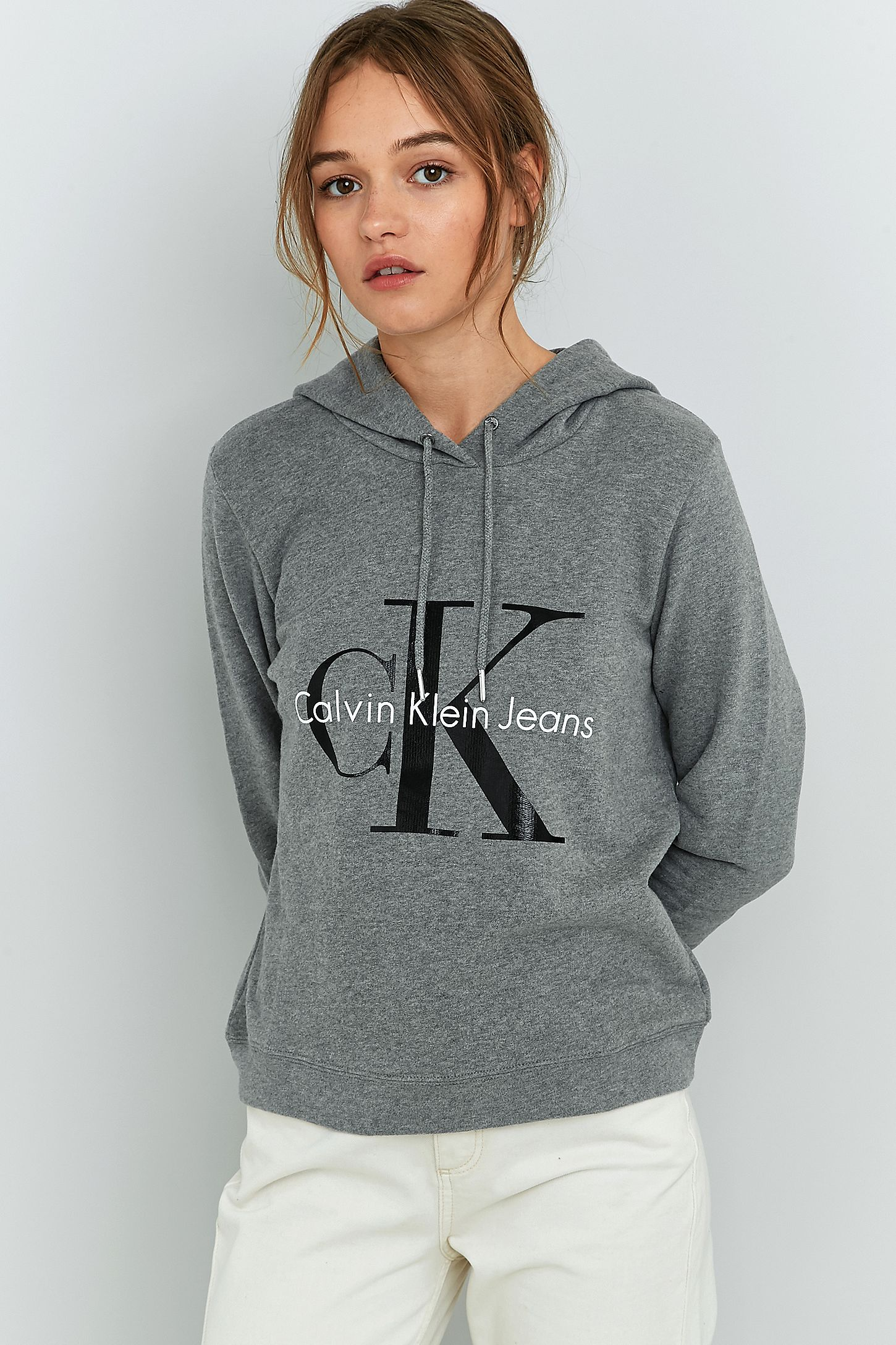 52902a217c1bb Calvin Klein Grey Logo Hoodie. Click on image to zoom. Hover to zoom.  Double Tap to Zoom