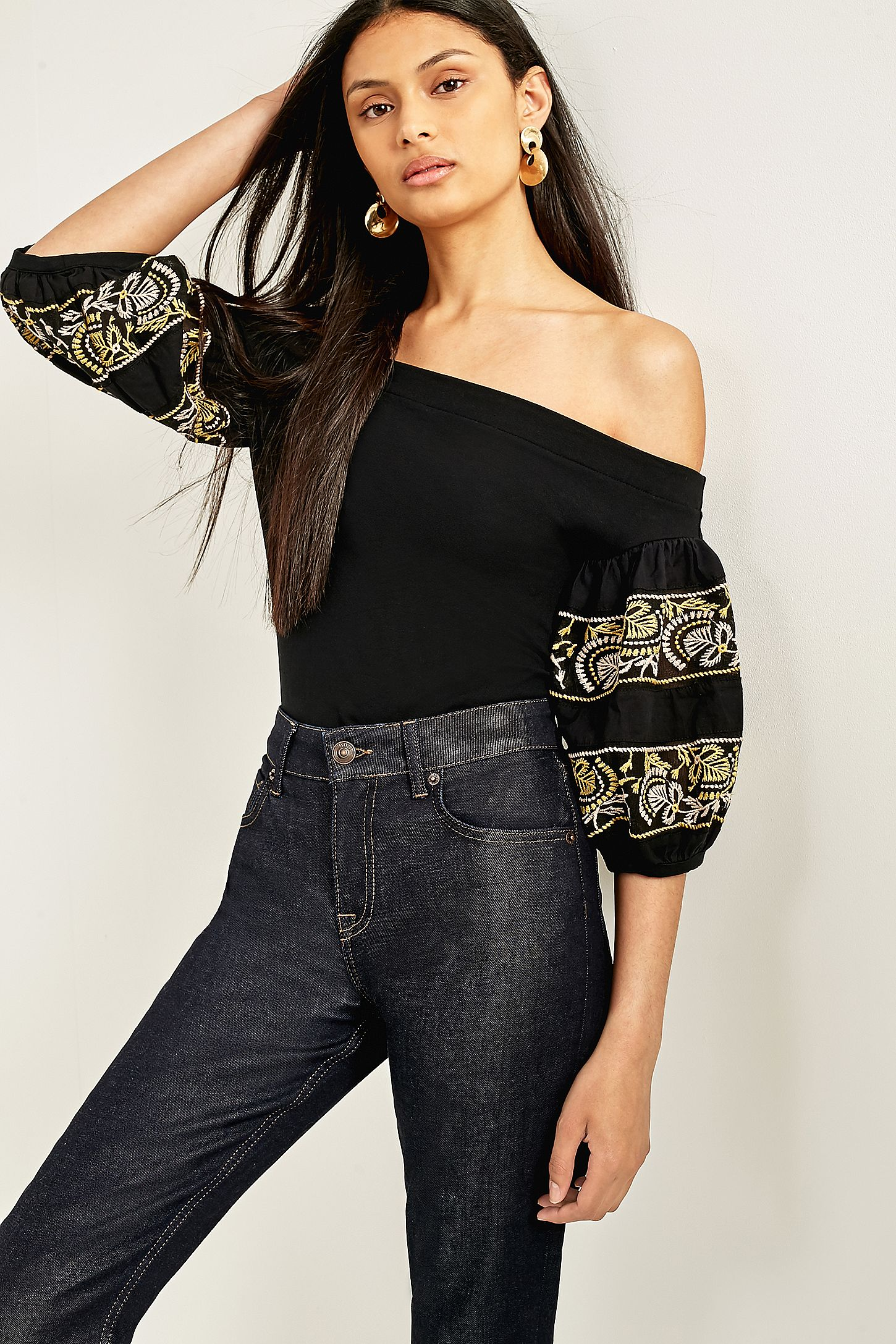 507b813e1598e Free People Rock With It Off-The-Shoulder Embroidered Top. Click on image  to zoom. Hover to zoom. Double Tap to Zoom