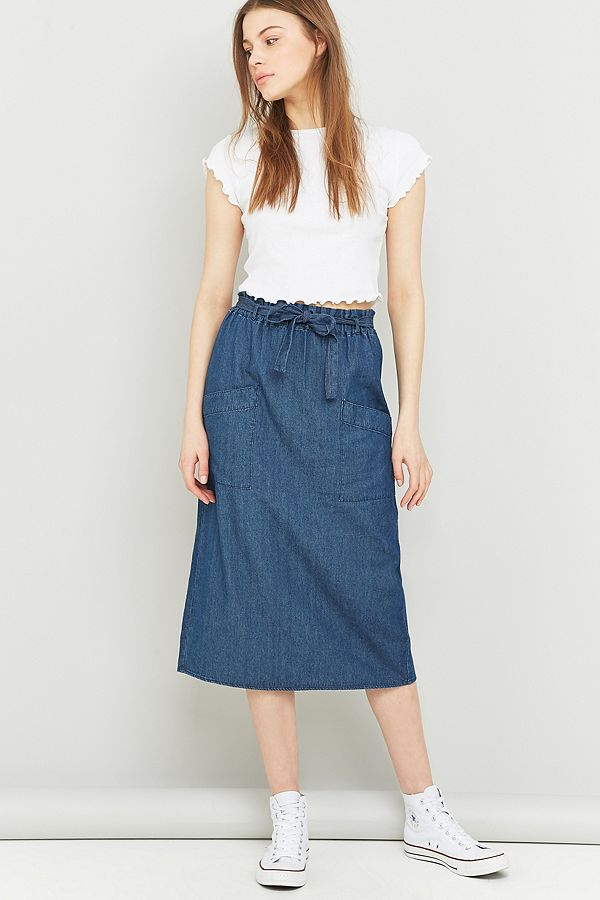 9447ce1a74 Urban Outfitters Paper Bag Denim Midi Skirt | Urban Outfitters UK