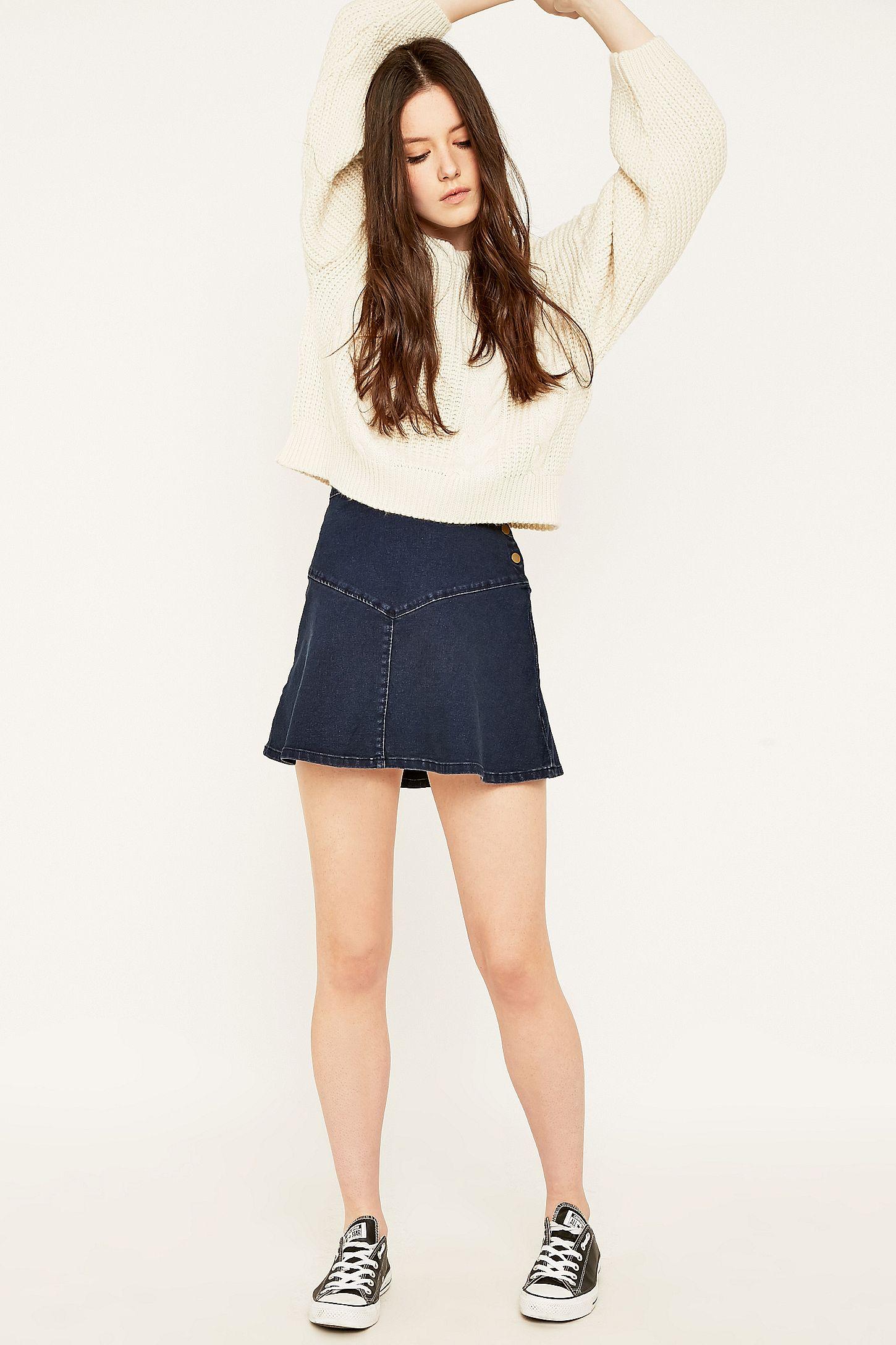 2fa151b8393f Denim Button Front Skater Skirt – DACC