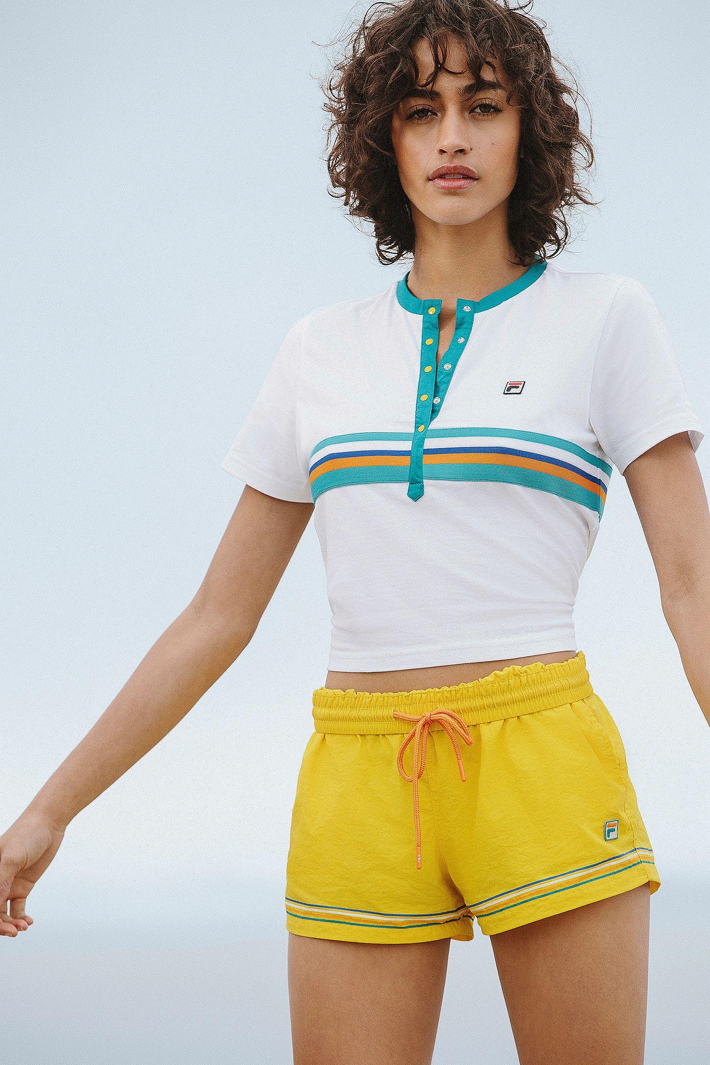 12d67f3b9a759 FILA + UO Tina Logo Shorts   Urban Outfitters UK