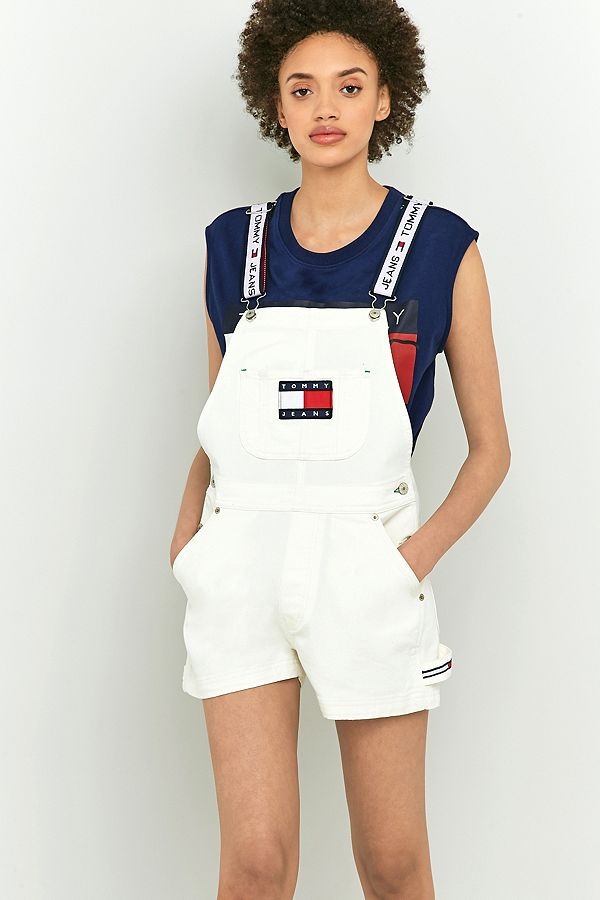9c4a17610df Tommy Hilfiger '90s White Shorts Dungarees | Urban Outfitters UK