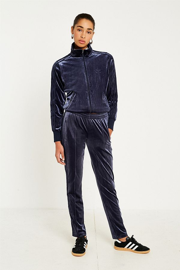 adidas Originals 3-Stripe Navy Velvet Track Pants