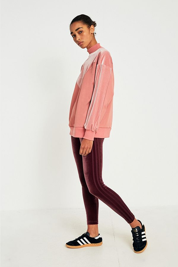 834e5538d35 adidas Originals 3 Stripe Burgundy Velvet Legging | Urban Outfitters UK