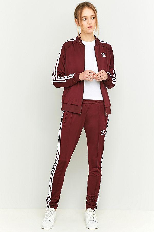 Adidas Slim Bandes Bordeaux Survêtement De Originals 3 Bas À wkn08OP