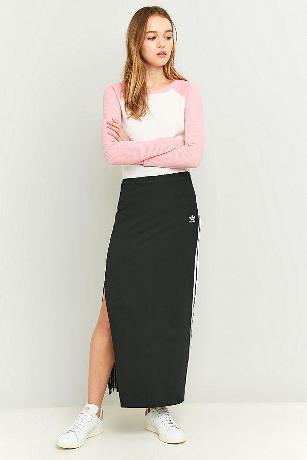 37d3ac8a8 adidas Originals 3 Stripe Black Maxi Skirt   Urban Outfitters UK