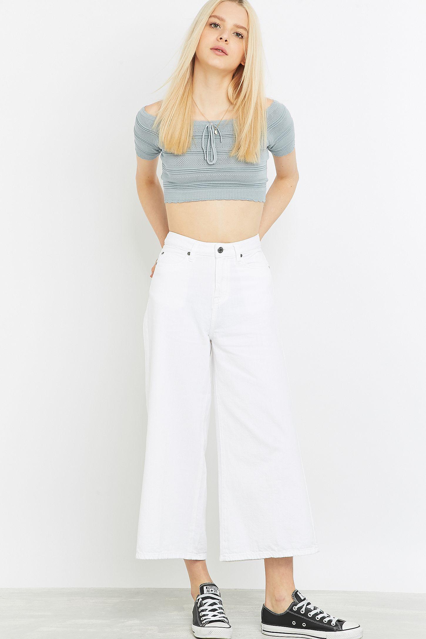 f808b4acff27 Dr. Denim Lykke White Wide-Leg Cropped Jeans