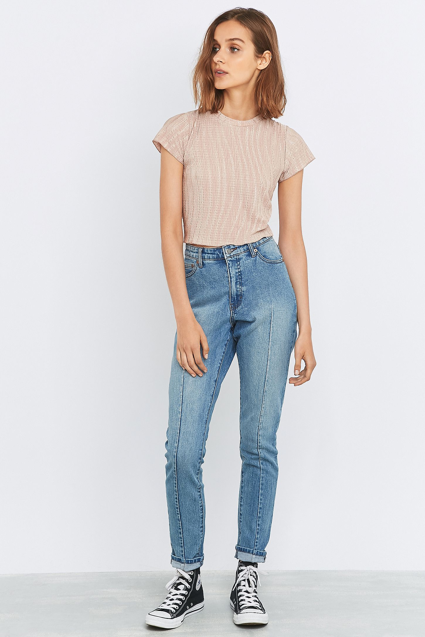 bf24ca6118f9 Cheap Monday Donna Mid Blue Seamed Straight Leg Jeans. Click on image to  zoom. Hover to zoom. Double Tap to Zoom