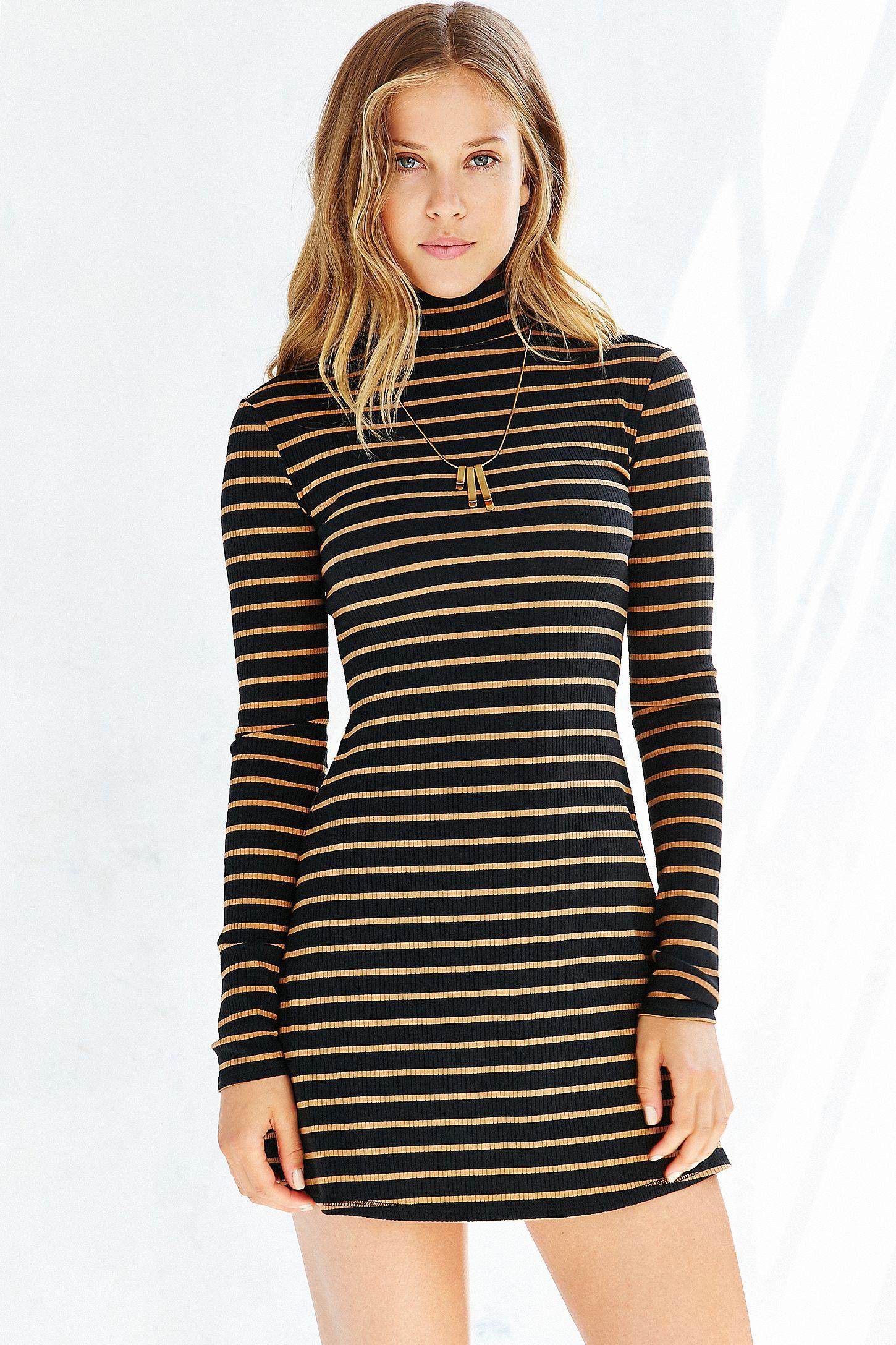 33966d432a BDG Kaylyn Ribbed Striped Turtleneck Dress
