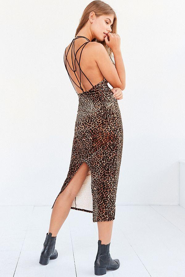 b075222d0516 Ecote Bellatrix Velvet Leopard Print Bodycon Midi Dress | Urban ...