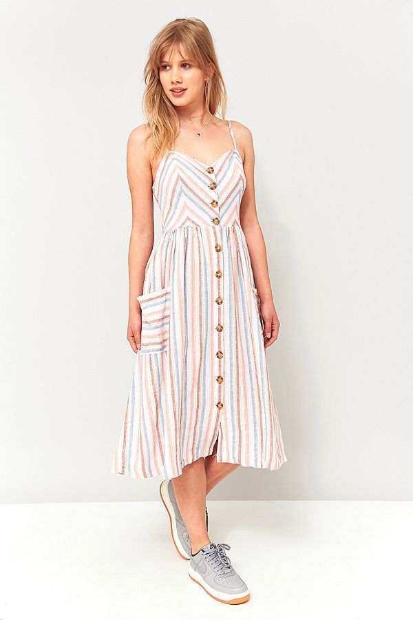 2ef909de1b Urban Outfitters Emilia Striped Midi Dress | Urban Outfitters UK
