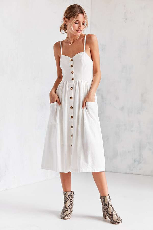 c90fcdf0ae Urban Outfitters Emilia Linen Button-Down Midi Dress