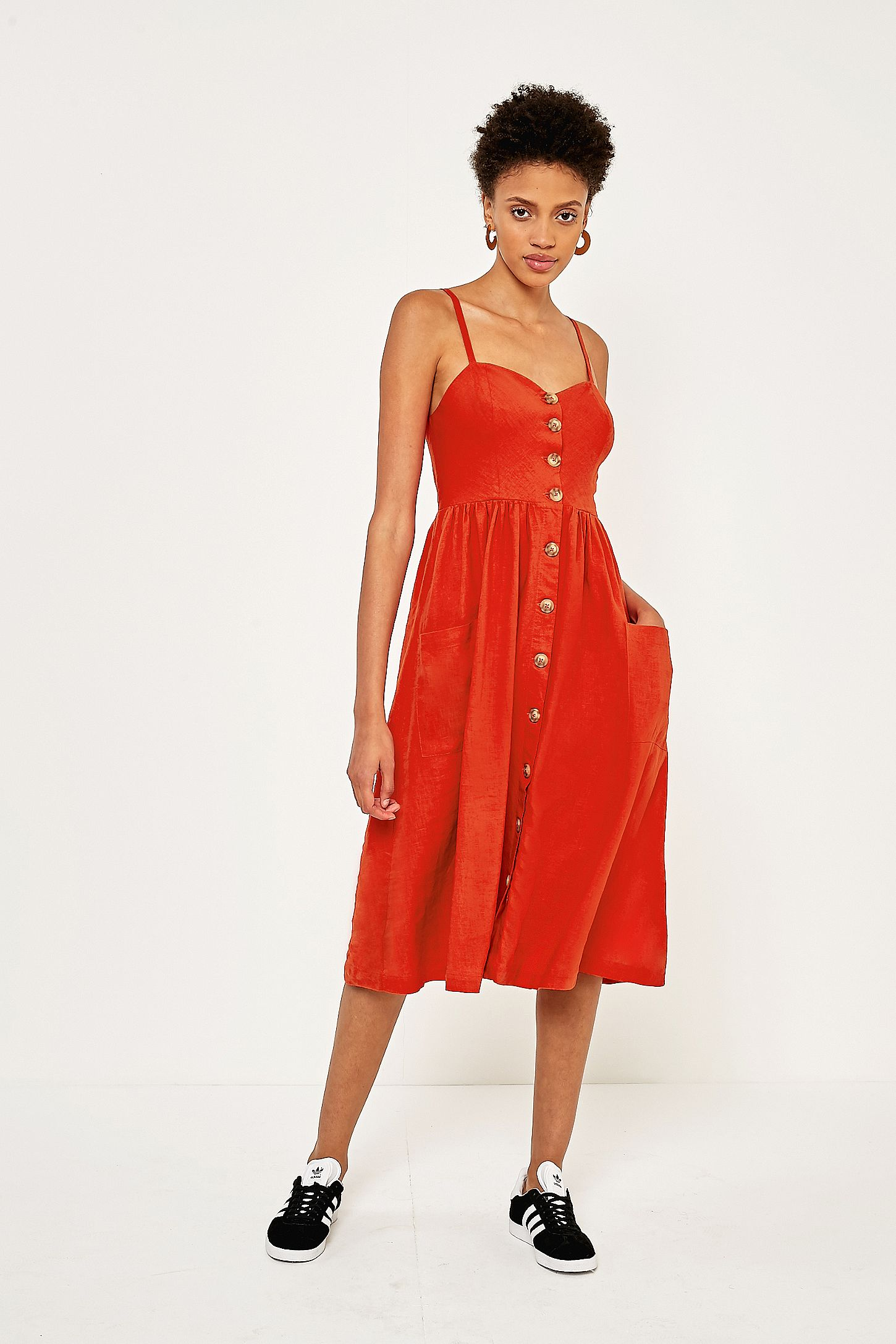 708743f31d8 Urban Outfitters Emilia Red Linen Button Down Midi Dress. Click on image to  zoom. Hover to zoom. Double Tap to Zoom